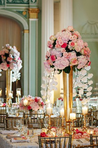 gold-vase-with-pink-roses-hydrangeas-and-white-orchids
