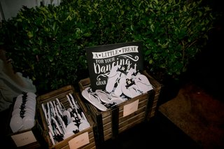 alexis-cozombolidis-and-hunter-pence-wedding-reception-favors-white-and-black-flip-flops-with-sign