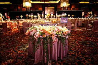 wedding-reception-with-a-decorative-table-draped-in-a-rosy-tablecloth-and-covered-with-flowers