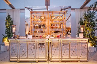 cocktail-hour-bar-with-mirror-bar-side-and-top-trees-tented-wedding-ideas