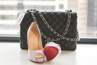 black-quilted-chanel-purse-for-bride-with-sparkling-glitter-peep-toe-christian-louboutin-pumps