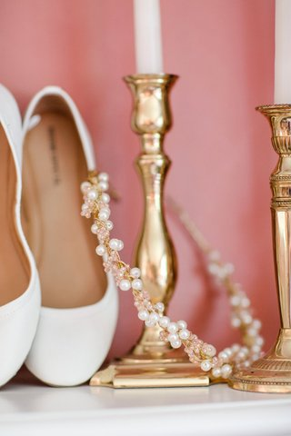 pink-crystal-and-pearl-gold-headband-and-white-flats