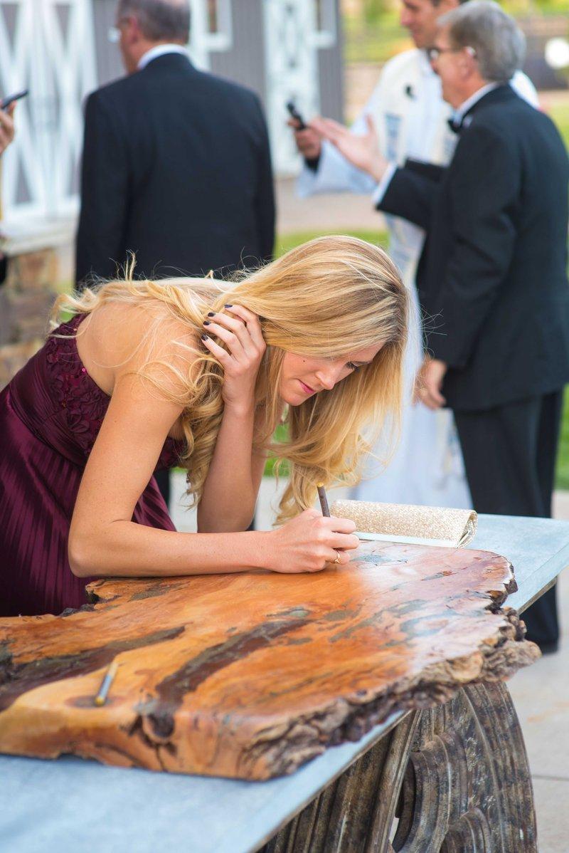 wedding guest book alternative polished reclaimed wood slab