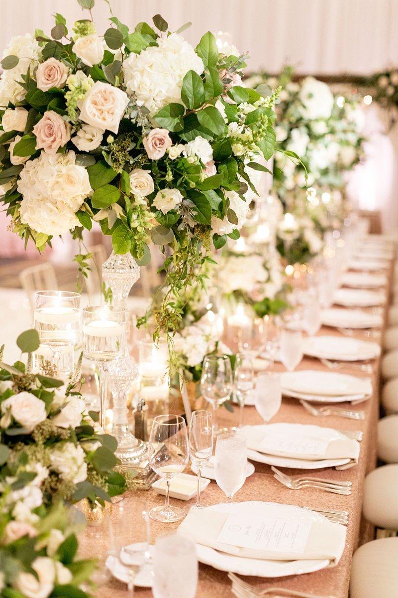 Rose Gold Linens & Tall Arrangements