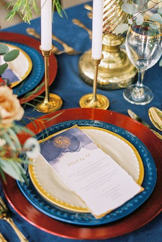 beauty-beast-movie-styled-wedding-shoot-red-blue-yellow-gold-changers-watercolor-vintage-menu