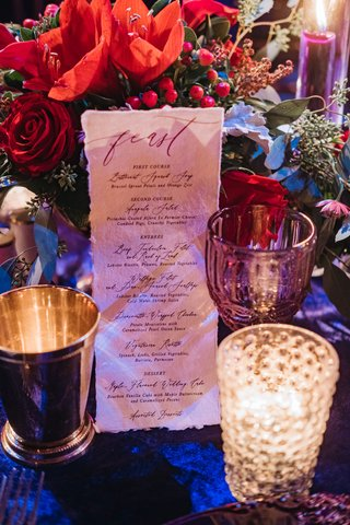 wedding-reception-menu-handmade-paper-torn-edge-fest-in-calligraphy-winter-menu