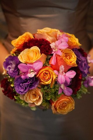purple-pink-orange-and-red-bridesmaid-flower-bouquet