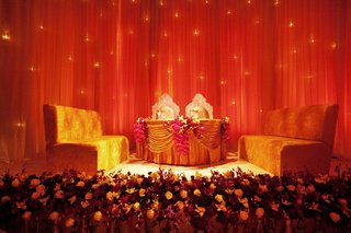 golden-velvet-benches-at-indian-reception