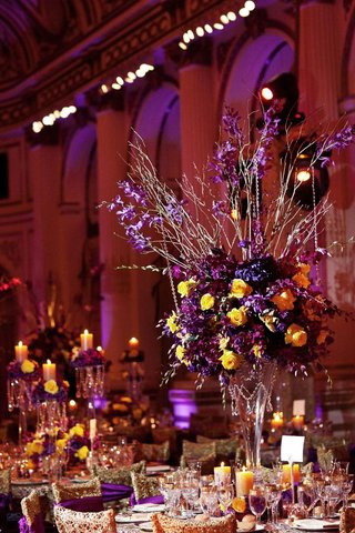 purple-and-yellow-rose-centerpiece-and-gold-chairs