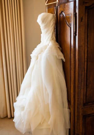 strapless-vera-wang-bridal-gown-on-hanger