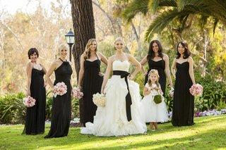 black-bridesmaid-dresses-and-flower-girl-dress