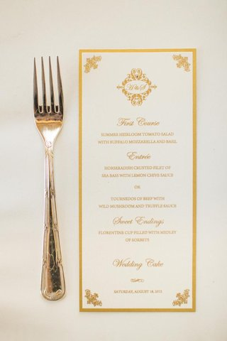 menu-with-gold-border-and-monogram-motif
