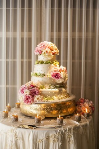 round-swiss-dotted-wedding-cake-with-flowers