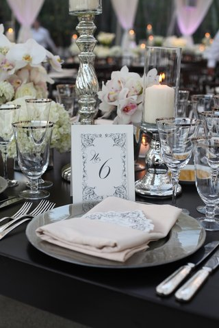 black-and-white-wedding-table-label-with-scroll-design