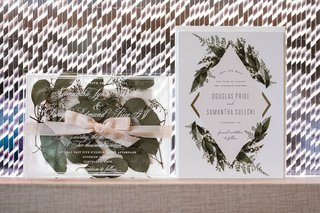 wedding-invitation-suite-vintage-boho-design-greenery-pink-ribbon