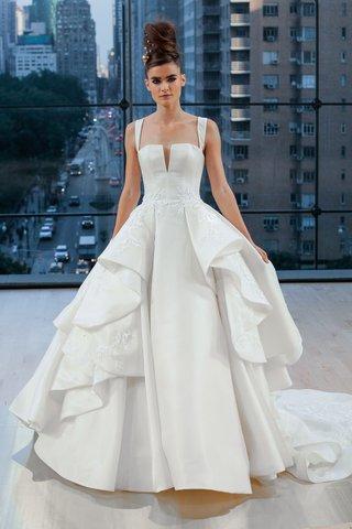fulton-ines-di-santo-fall-2018-ball-gown-with-ruffle-overskirt-slight-v-neck-straps-wedding-dress