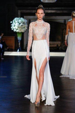 alon-livne-white-fall-2016-illusion-bodice-and-long-sleeve-wedding-dress-with-slits