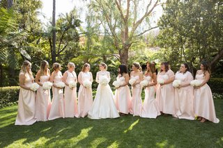 light-pink-mismatched-long-bridesmaid-dresses-white-bouquets-alfred-sung-bride-in-marchesa