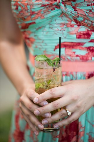 wedding-guest-in-summer-dress-holding-mojito