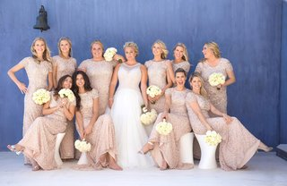 bride-in-mark-zunino-wedding-dress-bridesmaids-in-nude-sequin-adriana-papell-gowns