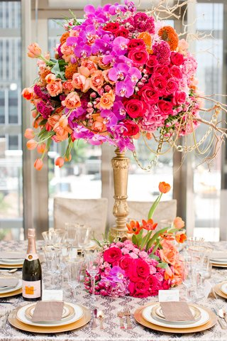 jewel-tone-floral-arrangement-fall-wedding-styled-shoot-orchids-roses-tulips-high-low