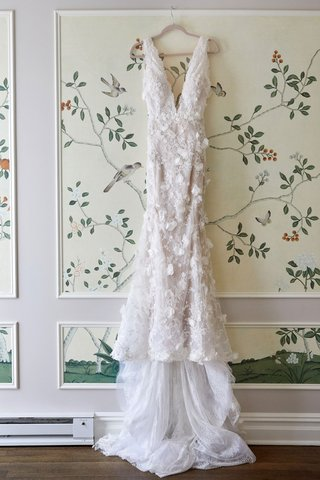 marchesa-wedding-dress-hanging-up-in-bridal-suite-at-the-plaza-in-new-york-city-bird-branch-painting