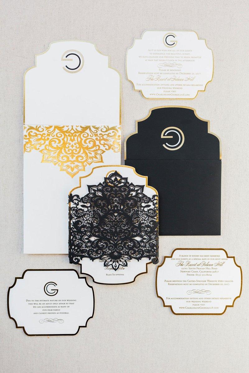 Ornate Black, White & Gold Invitation