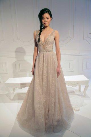 le-secret-royal-collection-blush-a-line-wedding-dress-with-silver-beading-deep-v-neck-belt-lace