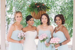 indian-bride-with-multicultural-bridesmaids-in-strapless-gowns