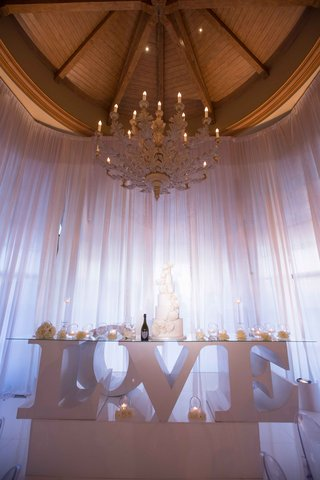 table-legs-spelling-love-at-reception-candles-cake-wine-metallic