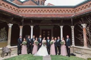 wedding-party-art-institute-of-dayton-ohio-venye-full-attire-pink-dresses-black-tuxedos