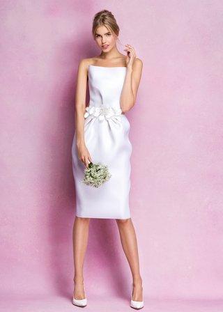 crisp-knee-length-wedding-dress-by-angel-sanchez-with-flowers-at-waist