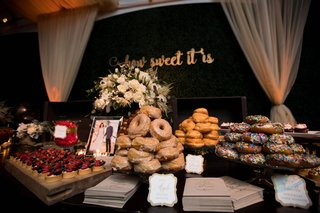 wedding-reception-dessert-table-how-sweet-it-is-calligraphy-sign-donut-tart-and-sweets-table-to-go