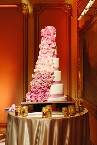 white-cake-with-pink-ribbons-and-ombre-pin-floral-cascade