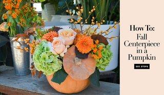 fall-wedding-ideas-pumpkin-centerpiece-flowers-orange-fairytale-cinderella-pumpkin