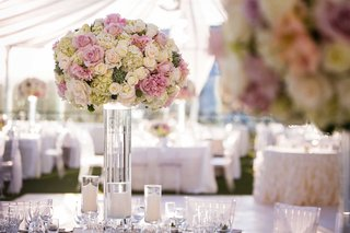 tall-centerpiece-on-clear-glass-vase-with-white-rose-pink-rose-hydrangea-and-succulent-details