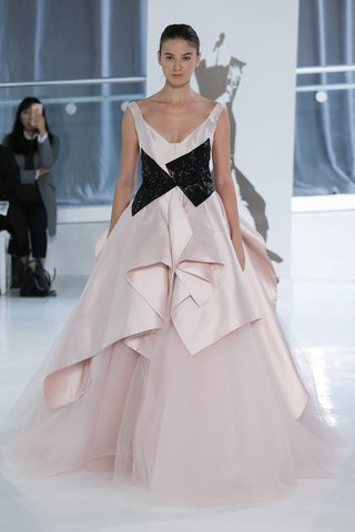 monique-by-peter-langner-spring-2018-pink-ball-gown-mikado-silk-tulle-deep-neckline-black-at-waist