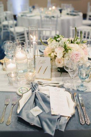 wedding-reception-steel-blue-velvet-napkin-and-linen-gold-pink-white-greenery-decor