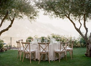 round-wedding-table-vineyard-chairs-ribbons-with-low-centerpiece-greenery-ivory-flowers-grass-trees