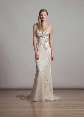 bridal-fashion-week-liancarlo-champagne-wedding-dress-flower-embroidery-illusion-neckline-chantilly