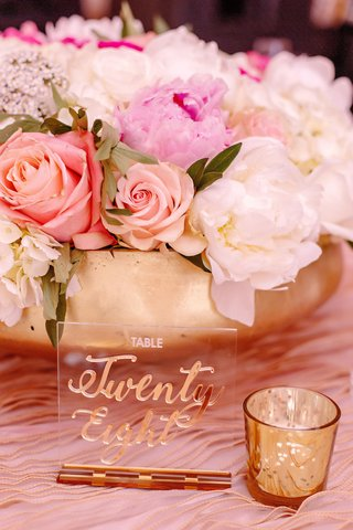 wedding-reception-pink-white-flowers-peony-rose-gold-vase-bowl-lucite-table-number-gold-calligraphy