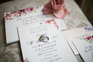 wedding-rings-on-calligraphy-invitation-suite-for-wedding-pink-flowers-and-stamp
