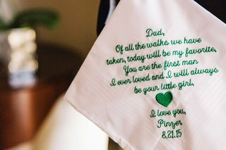 white-handkerchief-with-green-embroidery-letter-from-bride-to-father-of-bride