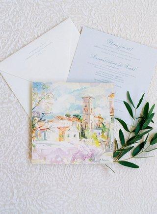 wedding-invitation-enclosure-handpainted-artwork-watercolor-of-italy-ravello-with-room-blocks-save-t