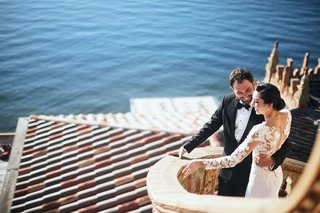 bride-in-pronovias-gown-with-lace-bodice-crepe-skirt-groom-in-tuxedo-ca-dvan-wedding-ocean-view