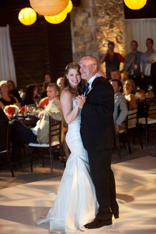 bride-and-groom-first-dance-at-outdoor-reception