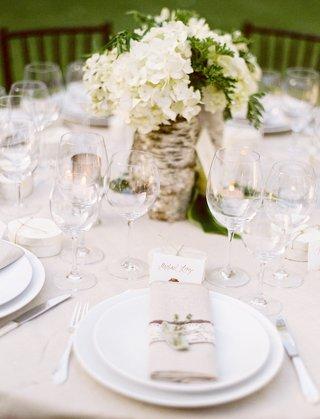 neutral-wedding-reception-table-with-tree-trunk-birch-wrap-centerpiece-white-hydrangea-tan-napkin