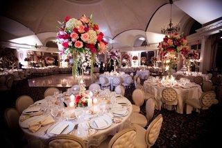 ballroom-reception-with-pink-flower-centerpiece-and-amaranthus