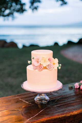 two-layer-small-simple-wedding-cake-on-wood-ledge-sugar-flowers-rose-pink-yellow-lavender
