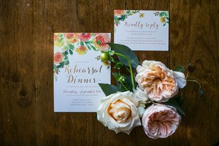 rehearsal-dinner-invitations-with-real-flowers-and-flower-print-on-invitation